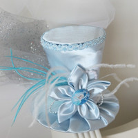 "Frozen ""Elsa"" Inspired Mini Top Hat - Frozen Birthday Party - Mad Hatter Hat - Blue and White Top Hat"