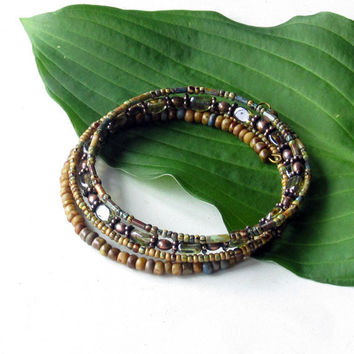 Beaded bracelet stack - gentle earth tone stacking bangles - wrap around 4x coil