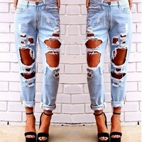 Ripped denim jeans PRE ORDER - Mimi & Bow