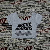ARCTIC MONKEYS WAVE Crop Top Ladies Short Sleeve Stretch T Shirt