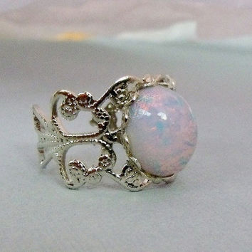 Silver Opal Ring by pinkingedgedesigns on Etsy