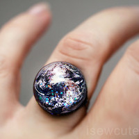 Space Jewelry Earth ring Home Sweet Home Out of this by isewcute