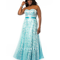 Sydney's Closet SC7145 Crystal Blue Strapless Sequin & Lace Gown Prom 2015