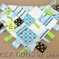 Baby Tag Blanket, Baby Taggie, Sensory Toy, Ribbon Blanket, Lovie, blue, brown, dogs, puppies PATCH FABRIC