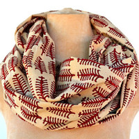 Red Autumn Leaves, Infinity Scarf - Hand block printed, All Natural Vegetable Dyes, 100% Cotton Loop Scarf, Infinity Cowl, Tube Scarf