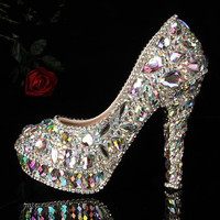 Luxury Heel Colorful Diamond Shoes Frost Closed Toes Heels  Bridal Heels Shoes, Luxury Closed Toes Bridal Heels Wedding Shoes Bridal shoes