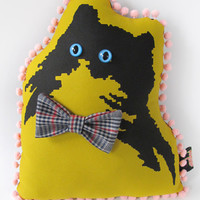 Green and Black Handsome Kitty Pillow