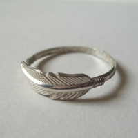 Feather Ring Handforged Sterling Silver Ring by fifthheaven