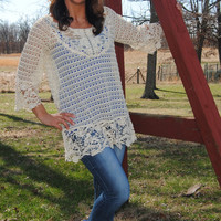 Semi-Sheer Lace Tunic