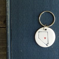 State love, Nevada keychain, hand stamped state with red heart, unisex key chain