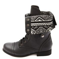 Tribal-Lined Fold-Over Combat Boots by Charlotte Russe - Black