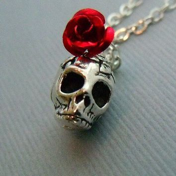 Silver Rose Skull Necklace by pinkingedgedesigns on Etsy