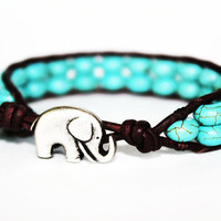 Elephant Bracelet, Leather Beaded Wrap Bracelet 1x, Elephant Jewelry, Turquoise Blue Howlite, Boho Chic, Bohemian