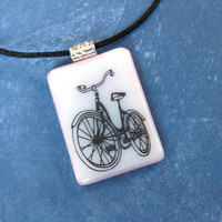 Bicycle Pendant, Bike Necklace on Black Satin Cord, Bicycle Jewelry - Petal Pushers - 4544 -3