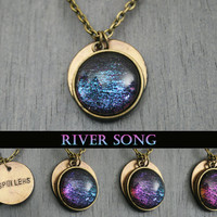 """River Song Inspired """"Spoilers"""" Antique Bronze Necklace"""