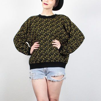 Vintage 80s Sweater Black Yellow Spotted Abstract Knit Jumper 1980s Sweater Slouchy Fit Cosby Sweater New Wave Pullover M L Extra Large XL