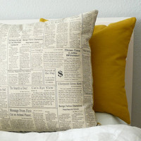 Morning Paper  Pillow Cover by OliveHandmade on Etsy