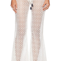 Bettinis Crochet Flare Pants in Ivory