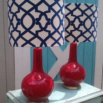 Vintage Lamps Mid Century Red Upcycled with Custom by GloryBDesign