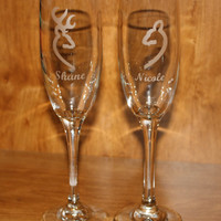 Etched Individual Buck and Doe Wedding Champange Flutes - Browning