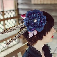 Blue Feather Fascinator with Crystal Center - ATHENA