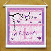 Personalized Hanging Child Sign for Little Girls Room Printed Banner with Birds Birdcage and Butterflies