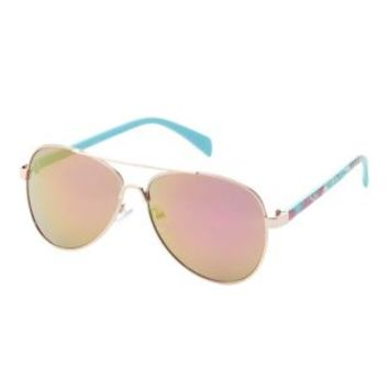 Lt Blue Tropical Print Aviator Sunglasses by Charlotte Russe