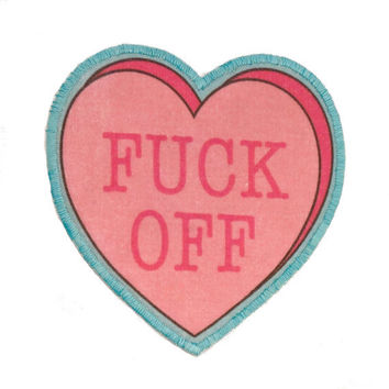 """F""""""""k Off  Insultation Heart Iron On Patch"""
