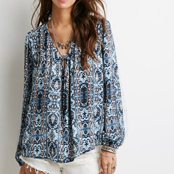 Abstract Tile Print Peasant Top