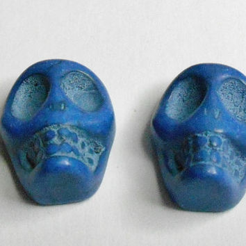 Blue Howlite Turquoise Skull Synthetic Flat Back Beads
