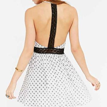 Lucca Couture Floral Lace T-Strap Back Dress-
