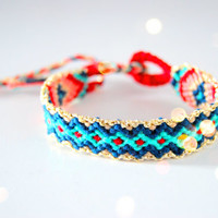Handwoven Friendship Bracelet Aztec . Crimson & Blue