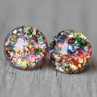 Fake Plugs, Opal Stud Earrings : Red, Teal, Yellow Glass Opal Dome Stud Earrings, Sterling Silver Posts, ArtisanTree, 9mm, Rainbow, Crackle