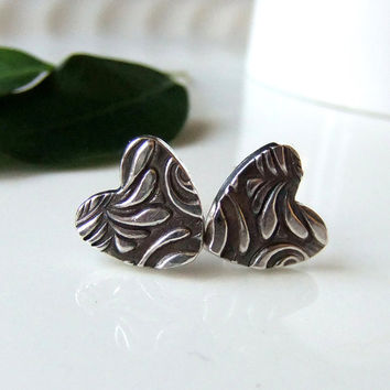 Silver Heart Earrings Black and Silver by somethingxtraspecial