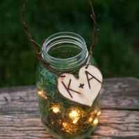 Set of 6 Upcycled Personalized Wood Glass Jar by braggingbags