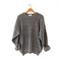 vintage speckled sweater. oversized slouchy pullover sweater. boyfriend loose knit sweater.