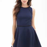 FOREVER 21 Scuba Knit Skater Dress Royal/Black