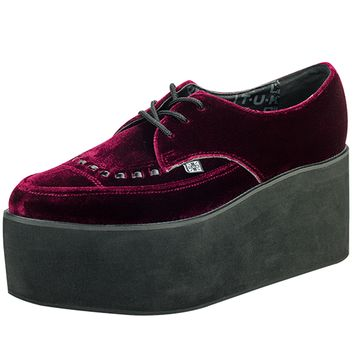 "Unisex ""Eva Stacked"" Velvet Pointed Creeper by T.U.K. Shoes (Burgundy)"