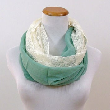 Mint and White Lace Infinity Scarf