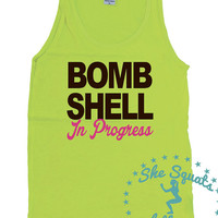 BombShell in Progress Tank. Workout Tank, Gym Tank, Running Tank, Gym Shirt, Running Shirt, Workout Shirt, crossfit tank, workout clothes