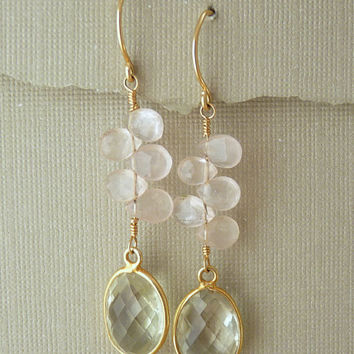 green amethyst and rose quartz earrings in 14k gold filled and gold plate - dangle earrings - spring - unique jewelry - handmade jewelry