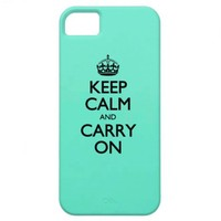 Keep Calm And Carry On - Mint Green Pattern iPhone 5 Case