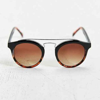 Gradient Brow Bar Round Sunglasses- Black Multi One