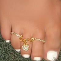 Sexy Feet Double Toe Rings W Crystal Heart Charm & Attached Chain One Size Fit