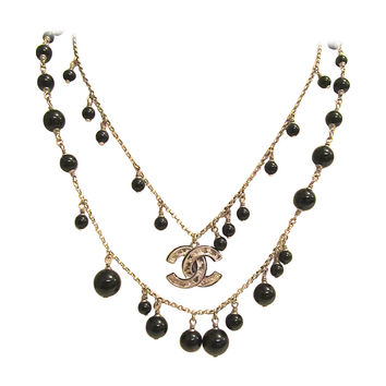 Chanel Necklace - Double Strand Alternating Black Beads - CC Logo