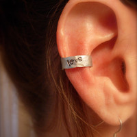 Ear Cuff Hand Hammered Aluminum with LOVE stamped by jhammerberg
