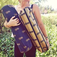 Pineapple Yoga Mat Sling Bag. Yoga Mat Bag. Yoga Bag.
