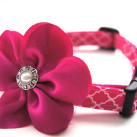 Pink Jeweled Flower Dog Collar Attachment