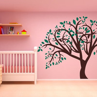 Tree with Leaves Large Nursery Vinyl Wall by CuttinUpCustomDieCut