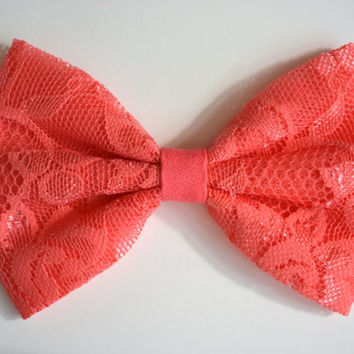 Coral lace hair bow